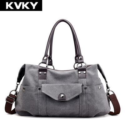 17d4ee03e656 KVKY Brands Big Canvas Women Bags Handbags Casual Tote Bags Solid  Multi-pocket Female Shoulder