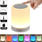 Night Light with Bluetooth Speaker・Portable Wireless Bluetooth Speaker Touch Control Color LED Bedsi