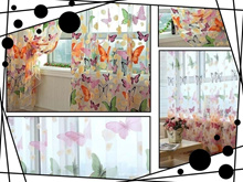 200 X 100cm Butterfly Print Sheer Window Curtain for Living Room Bedroom (Size: 1)