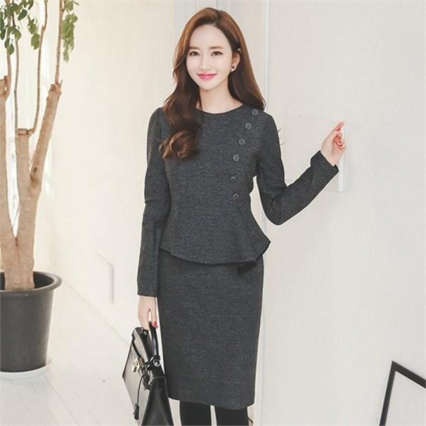 DRI516ボタンラインペプラムスーツワンピースnew 無地ワンピース/ワンピース/韓国ファッション