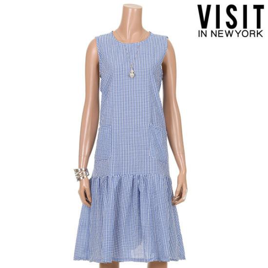 ・ビジット・インニューヨークチェックドロップラッフルワンピースVTGOP38 面ワンピース/ 韓国ファッション