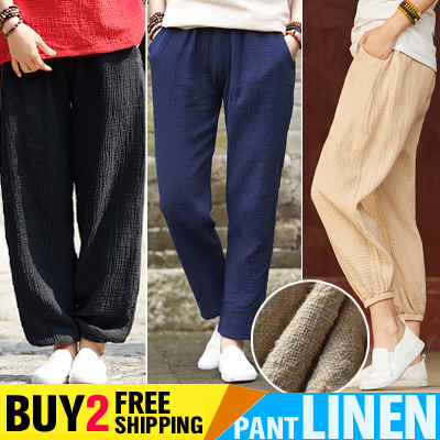 2018 sneakers the cheapest hot-selling professional Buy 2 Free Shipping Womens Linen Long Pants Ladies Loose Summer Pant  Elasticity Comfortable