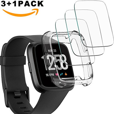 💖$1 Shop Coupon💖 TIRIO [3+1Pack] Fitbit Versa Screen Protector and One  Fitbit TPU SEMI-Around Cas