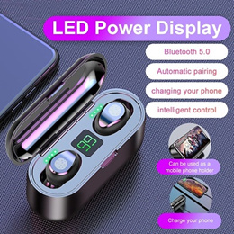 Wireless Earphone Bluetooth V5.0 F9 TWS Wireless Bluetooth Headphone LED Display With 2000mAh Power