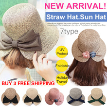 Buy 3 Free Shipping!Lady Straw Hat.Sun Hat/Beach Hat/UV Protect/Fedora Hat/Foldable Straw Hat/4TYPE