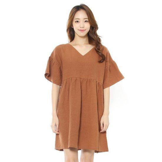 ルシャプLeShop小売ラッフルVネクワンピース、LH6OP635 面ワンピース/ 韓国ファッション
