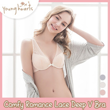 Young Hearts Comfy Romance Lace Deep V Demi Bra