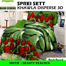 Sprei Khawla Disperse 3D  motif Beauty Peacock