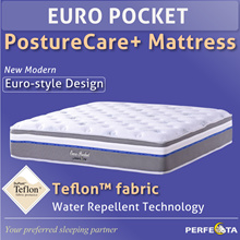 Euro Pocket PostureCare Plus Mattress * with Teflon fabric * Free Pillows and Mattress Protector
