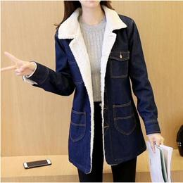 Winter new Korean version and cashmere fashion loose code lamb wool long collar padded denim cotton