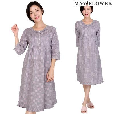 f7adff3d8bd4 KOREA Cotton 100% purple pink dots women one piece pajamas sleepwear third  quarter sleeves