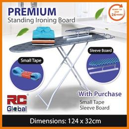 RC-Global 124 x 32cm Premium Standing Ironing Board Classic Iron Board