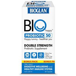 Bioglan Bio Happy Probiotic 50 Billion Bonus Pack 60 Capsules Exclusive Size
