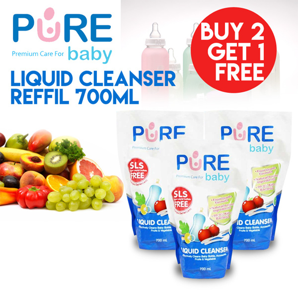 Pure Baby Liquid Cleanser Reffil- 700ml - Buy 2 Get 1 event shipping hanya untuk jakarta