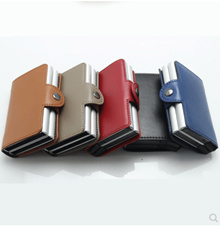 Men Business Credit Card Holder Wallet Metal RFID Anti-chief Aluminium Automatic Cards Box Genuine L