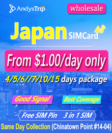 Wholesale Japan 4-30 Days Prepaid Tourist Travel SIM Card Unlimited Data Free Pin Customised Package