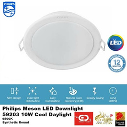Philips Meson 59203 10W LED Downlight - Available in Cool Daylight / Warm White
