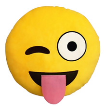 Cute Cartoon Creative QQ Expression Emoji Smiling Emoticon Yellow Round Face Cushion Pillow Throw Pi