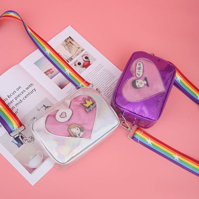 2018 Cute Transparent Love Heart Shape Ita Bag PU Leather Messenger Bag  Kids Kawaii Crossbody Case T