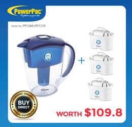 [Bundle Set] Water Filter Pitcher BPA Free + 3-Piece Filter Cartridge (PP1518+PP1588)