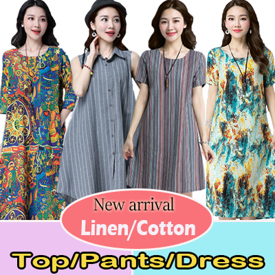 ?10/1 BIG PROMO?High Quality Japanese Linen Apparels Cotton Dress Japan Linen / Plus Dress Deals for only S$38.9 instead of S$0