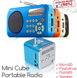 Mini Cube Portable Multi-mode FM Radio MP3 Player USB / TF / MicroSD Card MP3 Input Digital speaker