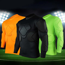 Mens Soccer Football Jersey Goal Keeper Goalie Padded Long Sleeve Shirt Tops Black