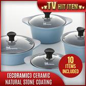 [Ecoramic] Ceramic Coated Aluminum Cast Pots and Pans Set (4 Pots + 2 Pans + 4 Covers)