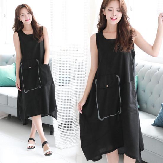 ソビンビッグポケットリンネン、袖なしのワンピース4カラー澤クォン・スンテク1SBCHBL プリントのワンピース/ 韓国ファッション