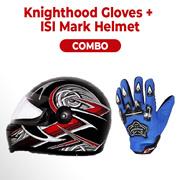 love4ride Combo Full Knighthood Gloves Blue + Stylish ISI Mark Helmet