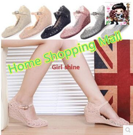 Shoes   Women wedge sandals hollow crystal plastic flowers in the root hole shoes sandals jelly s