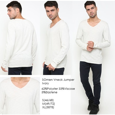 SOMen Vneck Jumper Ivory