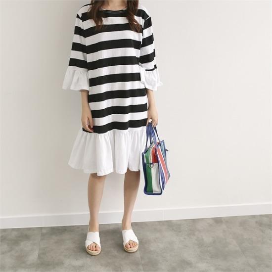 ココジェン行き来するようにココジェン修学ダンカラワンピース プリントのワンピース/ 韓国ファッション