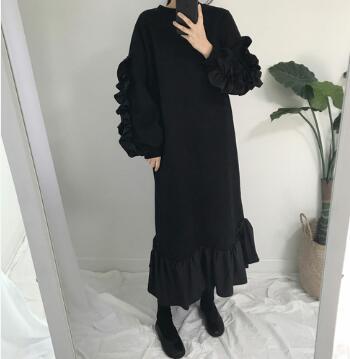 ★ フロン起毛フードフリルのワンピース / おしゃれなシルエットのファッションコーデー提案!ハイクォリティー/韓国ファッション/オフィスル