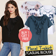 [Buy1Get1] Flower Blouse Tshirt 4 Style / Pakaian Wanita / baju wanita / Kaos / Tshirt / Blouse lengan pendek