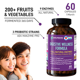 Digestive Enzyme [ 9 All Natural Enzymes with Probiotic ] - Gut Wellness ❤ Digestion ❤ Detox ❤ Diet
