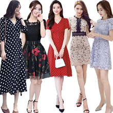 Korean style Slim lace Chiffon dress/Plus size Dresses/Beach skirt/Bohemia/floral dress