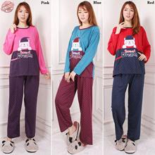 Stelan Baju Tidur Naka Atasan Piyama Jumbo Dan Celana Panjang Jumbo Wanita