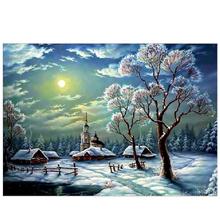 5D Snow Tree Round Diamond Painting Embroidery DIY Cross Stitch Needlework Cross Stitch Resin Full D