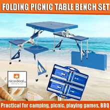 Lightweight Folding Picnic 85.5 x 65 Table Bench Set Camping Garden Party BBQ 4 Chairs