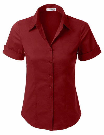 1835e8595cb7 Qoo10 - LE3NO Womens Tailored Short Sleeve Button Down Shirt with ...