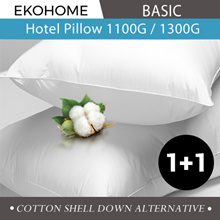 [Ekohome Basic] 1+1 Hotel Pillow 1100/1300g Down Alternative Cotton Shell