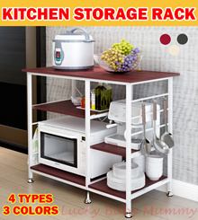 【Ready Stock】Kitchen Rack/ Storage Organizer/Holder Adjustable Shelf/Shelving Cabinet/Microwave