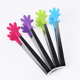 High Quality Cute Mini Stainless Steel Food Tongs Clip Silicone Hand Design Sugar Cake Clip color ra