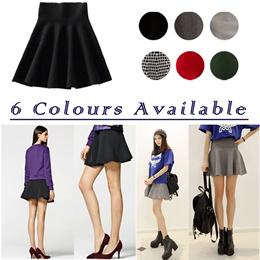 Skirt/ Korean Circular Knitted Skater Skirt /Casual / Sweet / Elastic / Body Con / Velvet / Skort