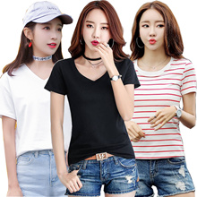 2018New Arrival Korean Blouse Casual Loose fit T-shirts/Basic Design T-shirts/Casual tops/Clothing/