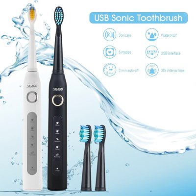 SEAGO Electric USB Sonic Toothbrush Dentist Rechargeable Cleaner with Smart Timer Five Optional Brus