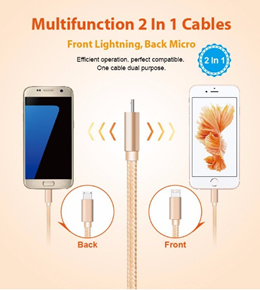 NEW 2 in 1 Built In FAST Data Charge Cable for Iphone and Android in 1 SLOT PIN