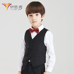 Yi Sixiu handsome children Korean version boys dress vest black classic solid color cute slim childr