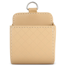 [STORAGE BOX] CAR PU LEATHER AIR OUTLET HANGING STORAGE BOX HOLDER PHONE CARD SUNGLASSES [BEIGE]